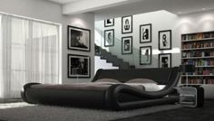 Cala Faux Leather Italian Bed and Memory Foam Mattress (Black, 4ft6 Double)