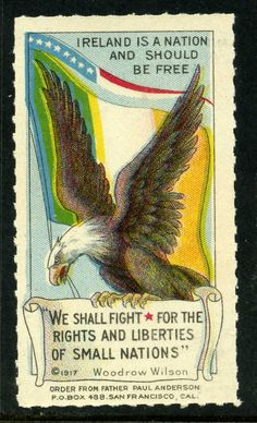 """""""We shall fight for the rights and liberties of small nations"""" - US Poster in support of Irish fighters during the Irish War of Independence..."""