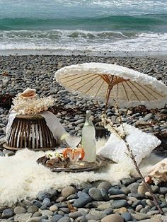 Picnic on the beach and umbrella
