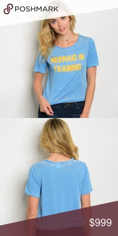 ⚡️COMING THURS⚡️ Mermaid In Training Graphic Tee ⚡️COMING SOON⚡️ Mermaid in training Short sleeve round neck graphic crop tee. 50% Cotton 50% Polyester. Tops Crop Tops