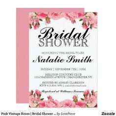 Pink Vintage Roses   Bridal Shower Invitation