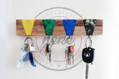 Key Hanger Rack and Key Chains Precious Plastic #KeyChainswooden