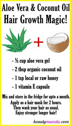 Did you know that you can use aloe vera and coconut oil for hair growth! Make a magical hair growth mix with them and see your hair flourish! Aloe vera and coconut oil are both powerful hair growth boosters. Aloe vera is made up of nutrients such as gluco Coconut Oil Hair Growth, Coconut Oil Hair Mask, Coconut Oil Hair Treatment, Egg Hair Mask, Aloe Vera Haar Maske, Natural Beauty Tips, Natural Hair Styles, Natural Oils For Hair, Natural Skin
