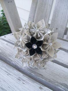 Sheet Music Paper Flower Bouquet Origami Kusudama by PoshStudios