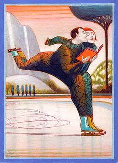 Skating with reading / Patinando con la lectura (ilustración de Lorenzo Mattotti)