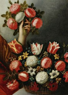 Portrait of a lady as Flora, Detail. Attributed to Jacques Linard