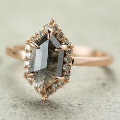 Wedding Jewelry Carat Grey Hexagon Halo Diamond Engagement Ring, Rose Gold - Point No Point Studio creates beautiful unique engagement rings including rough diamonds, uncut diamonds, and more. Halo Diamond Engagement Ring, Diamond Wedding Rings, Solitaire Diamond, Bridal Rings, Grey Diamond Ring, Colored Diamond Rings, Solitaire Rings, Diamond Gemstone, Rose Gold