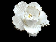 English Bone China Brooch Large White Flower with Gold Gilt