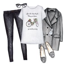 Outfit collage. Doll Memories grey printed t-shirt, classic coat, black jeans, leopard flats