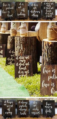 Bible verse wooden wedding signs decor. Corinthians 13 is written in rustic wedding style on eight signs. Aisle decorations but you could use them as hanging or easel signs as well. Kendra stains them dark walnut with white writing. #RusticWedding #WeddingSigns #MyOnlineWeddingHelp #weddingdecoration