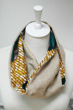 African Wax Print and Tweed Reversible Snood