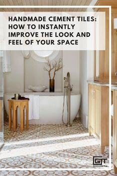 Easy Bathroom Updates | Quickly enhance the look of your space with sensational cement tiles by Granada Tile. Find your favorite pattern now! #tiledesigns #concretetiles #encaustictiles Designer: Renée Gaddis Interiors
