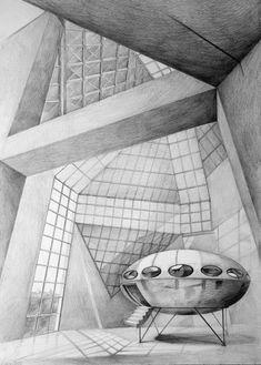 Architect Ming Pei, Grand Duke Jean Museum of Modern Art, Luxembourg, drawing by Klara Ostaniewicz