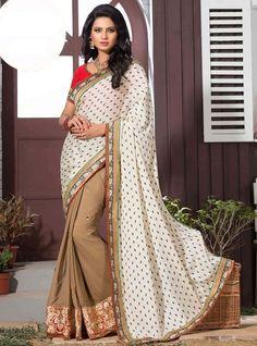 Buy Printed Off White n Beige Embroidered Saree Online: GSR25422