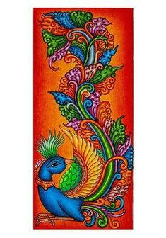 Mural painting is intricately hand painted and will instantly give your room a touch of elegance. The painting is hand painted. Diwali Painting, Kerala Mural Painting, Art Painting Gallery, Indian Art Paintings, Nature Paintings, Wall Mural Painting, India Painting, Painting Art, Peacock Wall Art