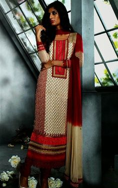 Picture of Radiant Red Color Churidar Kameez for Wedding