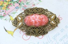 Vintage Art Deco Czech Coral Glass NEIGER Brothers Brooch