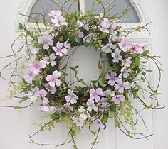 Wispy Dogwood Wreath With Pink and White Dogwood Blossoms Door Wreath Includes Wreath Hanger Spring Front Door Wreaths, Autumn Wreaths, Easter Wreaths, Spring Wreaths, Wreath Hanger, Diy Wreath, Wreath Ideas, Flower Decorations, Wedding Decorations