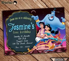 Princess Jasmine Alladin Birthday Invitation Jasmin party