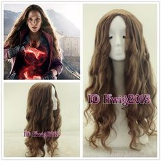 Avengers: Age of Ultron Scarlet Witch long wavy curly brown cosplay wig + free wig cap Scarlet Witch Costume, Avengers Age, Age Of Ultron, Halloween 2015, Wig Cap, Cosplay Wigs, Afro, Curly, Long Hair Styles