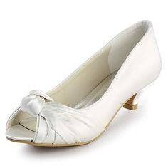 4528cace932 ElegantPark EP2045 Women Peep Toe Comfort Heel Knots Satin Wedding Bridal  Shoes White US 6 White