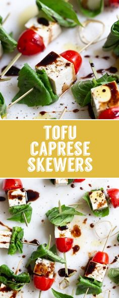 Caprese Skewers- this EASY vegan appetizer recipe is just like the classic but with tofu instead of mozzarella cheese. So excited for you to try these! Skewer Appetizers, Skewer Recipes, Italian Appetizers, Vegan Appetizers, Tofu Recipes, Appetizers For Party, Appetizer Recipes, Vegetarian Recipes, Healthy Recipes