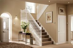 White stair railing stylish cute stairs decoration with 13 White Banister, White Stairs, Banisters, Stair Railing, Railings, Hallway Colour Schemes, Hallway Paint Colors, Paint Colours For Hallway, Entryway