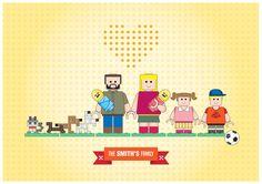 Portrait de famille Lego personnages affiche Art Lego Illustration affiche - famille famille portrait personnalisé - art de l'affiche A3 - inspirée dans les jouets LEGO par PeanutoakPrint sur Etsy https://www.etsy.com/fr/listing/173966851/portrait-de-famille-lego-personnages