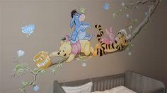 Wandbilder Wandmalerei Wandbild f r Kinder k Baby Bedroom, Baby Boy Rooms, Nursery Room, Girl Nursery, Disney Baby Rooms, Baby Disney, Baby Wall Art, Art Wall Kids, Winnie The Pooh Nursery
