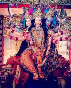 Image may contain: 3 people Maa Image, Maa Durga Image, Durga Kali, Kali Hindu, Durga Puja, Durga Goddess, Shiva, Happy Navratri Images, Vaishno Devi