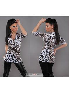 Long top avec ceinture TENDANCE FASHION couleur léopard blanc 24,00 € Top  Fashion ccaf4dee1e8