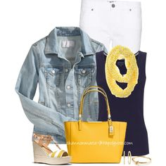 """Yellow & Navy"" by shannonmarie-94 on Polyvore"