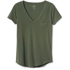 Gap Women Vintage Wash Sueded V Neck Tee ($25) ❤ liked on Polyvore featuring tops, t-shirts, garden, tall, gap t shirts, v neck t shirts, green top, v-neck tee and curved hem tee