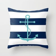 Aqua Anchor Shape on Wide Stripes Pattern Throw Pillow by heartlocked - $20.00