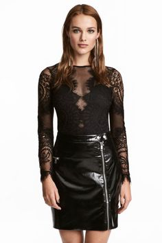 Long-sleeved bodysuit in lace with lower section in jersey. Opening at back of neck with button. Snap fasteners at gusset. Lace Bodysuit, Long Sleeve Bodysuit, Body Dentelle, Girl Tied Up, Kids Fashion, Fashion Outfits, Tight Dresses, Casual Wear, Fashion Online