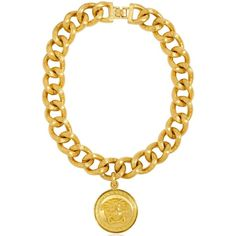 VERSACE Medusa Gold Plated Metal Chain Necklace ($1,048) ❤ liked on Polyvore featuring jewelry, necklaces, accessories, bracelets, versace, gold, gold plated necklace, versace jewelry, versace necklace and adjustable necklace