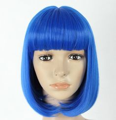 Short straight blue wig. Synthetic color wig high by Wigglywigs, $50.00