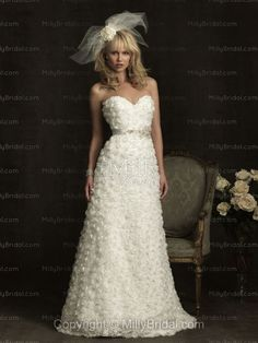 A-Line Sweetheart Crystal Lace Chapel Train Wedding Dress at Millybridal.com