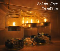 Turn old salsa jars into relaxing bathroom candles in 30 seconds flat.