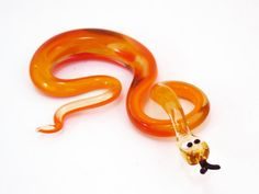 Glass Snake Figurine Orange Homedecor gift murano toy fused snakes unique handblown boro glass Cobra Miniature  Collectible lampwork boro