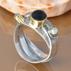 BLACK ONYX 925 SOLID STERLING SILVER EXCLUSIVE RING 4.50g DJR7432 #Handmade #Ring