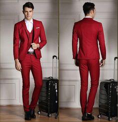 Купить товар( Куртки + жилет + брюки ) 2015 новые костюмы тонкий смокинг мода Bridegroon бизнес свадебное платье красные костюмы Blazer в категории Костюмына AliExpress.     Размер внимание: одежда в нашем магазине на продажу в Азии размер.                                 Пожалуйста, прове