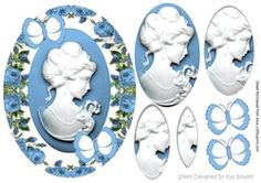 Pretty cameo lady in blue roses pyramids with butterflies on Craftsuprint - View Now!