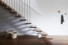Steel and timber stairs at Commercial Road Residence by Doherty Design Studio. Photographer: Armelle Habib