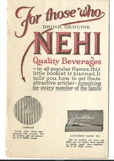 Old Soda Catalog Customer Premiums NEHI QUALITY BEVERAGES Crowns Baseball Razor