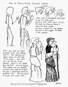 How to draw a young peasant shepherd girl. See more at my blog: http://drawinglessonsfortheyoungartist.blogspot.com/