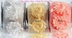 2.5 Inch Shabby Chic Flower Ribbon | 1 Yard Wired Floral Ribbon | Frayed Flowers | Wedding Ribbon | Baby Headbands| Baby Bump Ribbon by GigisRibbonShoppe on Etsy
