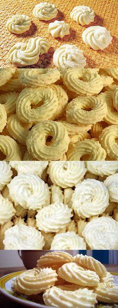 Amanteigados De Maizena #biscoitos #amanteigados #pilotandofogão Cookie Desserts, Cookie Recipes, Red Rice Recipe, Biscuit Cookies, Savory Snacks, Cupcakes, Sweet And Salty, Four, Creative Food