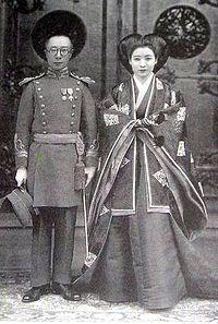 Aisin-Gioro Pǔjié, the brother of Puyi, the last Emperor of China and his second wife, Lady Hiro Saga at their 1937 wedding. Antique Photos, Old Photos, Vintage Photos, Nagoya, Osaka, Beijing, Yokohama, Last Emperor Of China, Boxer Rebellion