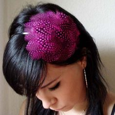 PEGGY -hot pink feather headband or hair clip - bohemian feather fascinator on Etsy, $14.50
